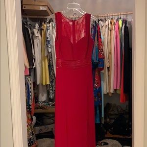 Red Maxi dress with Sheer detail